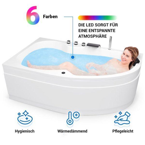 Raumspar Badewanne mit LED Beleuchtung