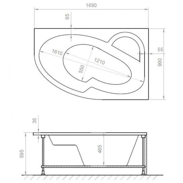 Asymmetrische Eckbadewanne AQUADE Model: Mainz 170 x 100 cm