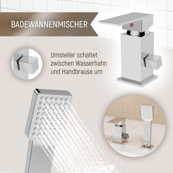 Armatur für Badewanne mit Handbrause und Wasserfall