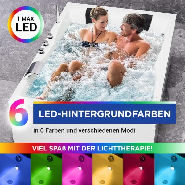 Badewanne 120 x 180 mit LED Beleuchtung, Nackenkissen und Armatur