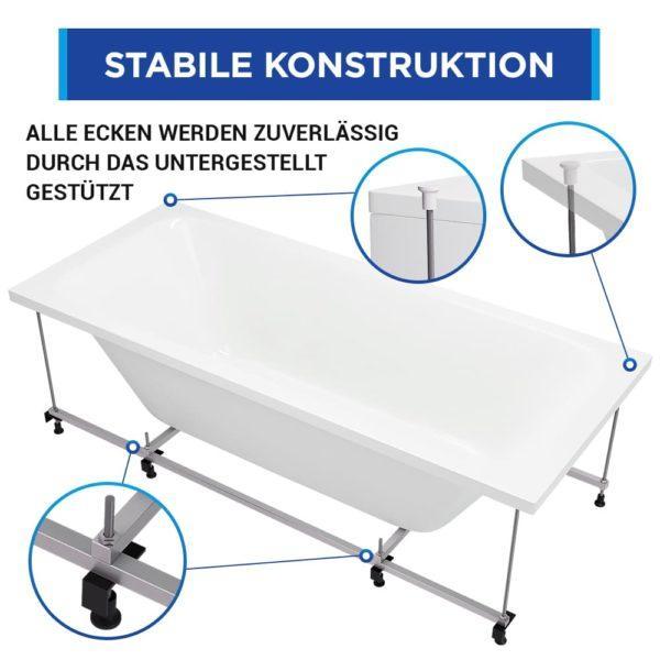 Badewanne Bonn Komplett-Set mit Schürze, Gestell und Ablaufgarnitur