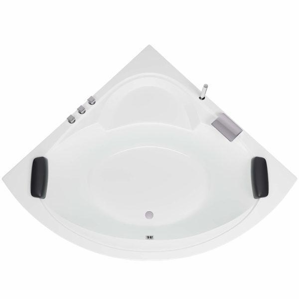 Badewanne Freiburg Komplett-Set mit Nackenkissen, Armatur und LED-Beleuchtung