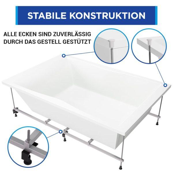 Badewanne Hamburg 180 x 120 cm Komplett-Set mit Schürze, Untergestell und Ab-Überlauf-Garnitur