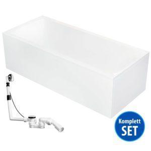 Rechteck-Badewanne Bremen Komplett-Set mit Schürze, Gestell und Ablaufgarnitur
