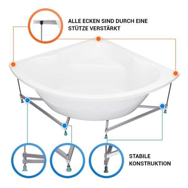 Eckbadewanne Kassel Komplett-Set mit Untergestell, Schürze