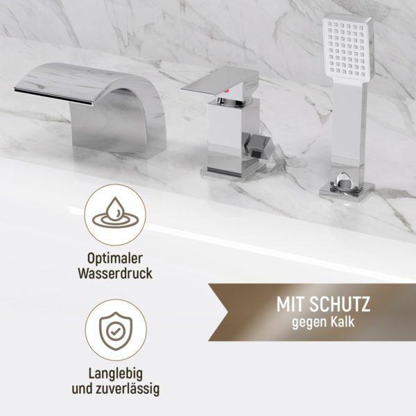 Integrierte Badarmatur mit Wasserfall und Handbrause