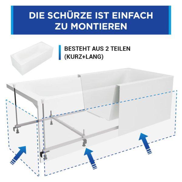 Rechteck Badewanne Bonn mit Schürze