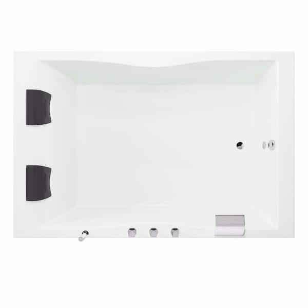 Rechteck-Badewanne Hamburg 180x120 cm mit NAckenkissen, Armatur und LED