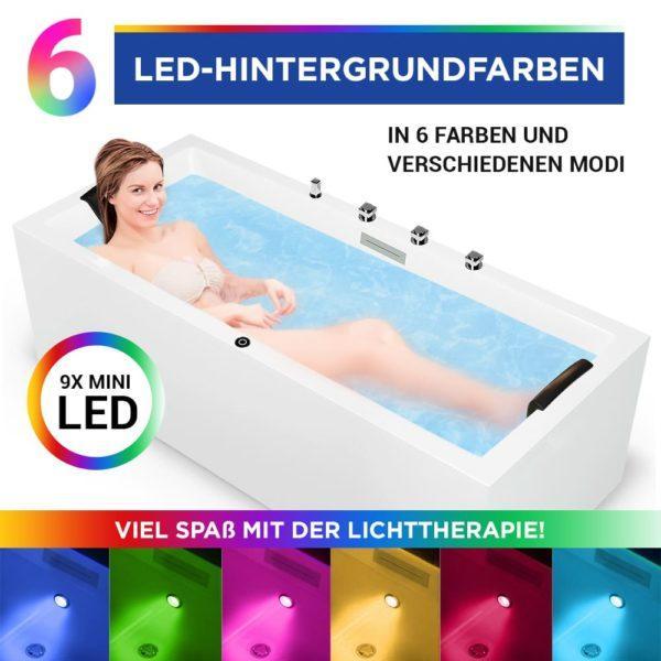Rechteck Badewanne Neu Ulm mit LED Licht