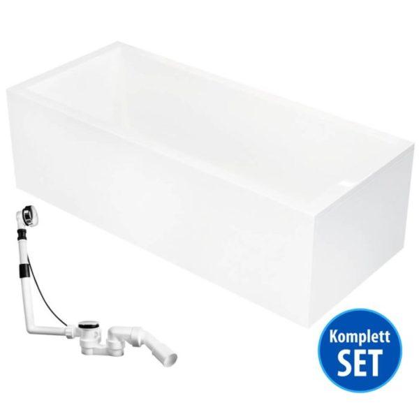 Rechteck-Badewanne Model Ulm Körpergröße 170 x 75, 180 x 80, 190 x 90, 200 x 90
