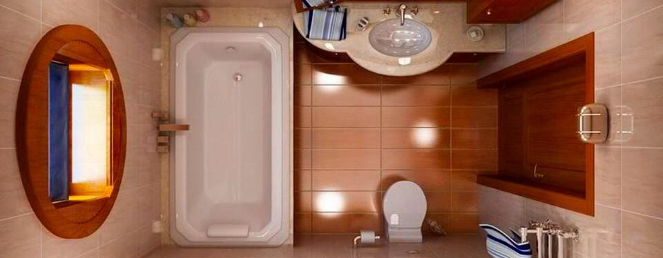 Badezimmer mit Rechteckbadewanne