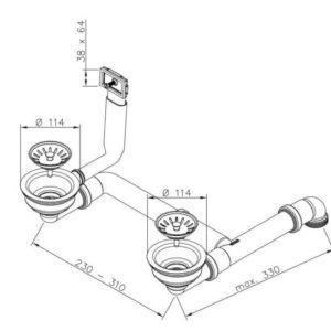 Siebkorbventil Ø 114 mm für Doppelbecken mit rechteckigem Überlauf