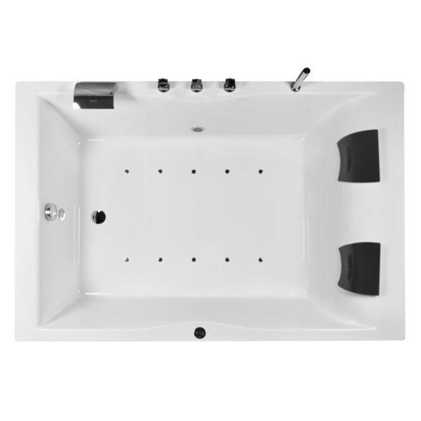 Badewanne mit Whirlpool 120x180cm mit LED Beleuchtung und integrierter Armatur