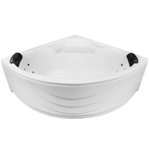 Eckbadewanne Whirlpool 140cm Komplett-Set mit 8 Rückendüsen, LED