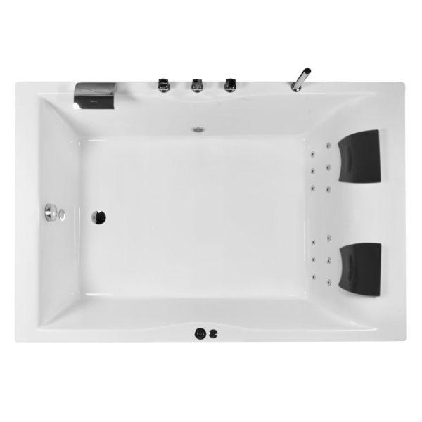 Whirlpool Badewanne 180x120cm Set mit 12 Düsen, LED und Armatur