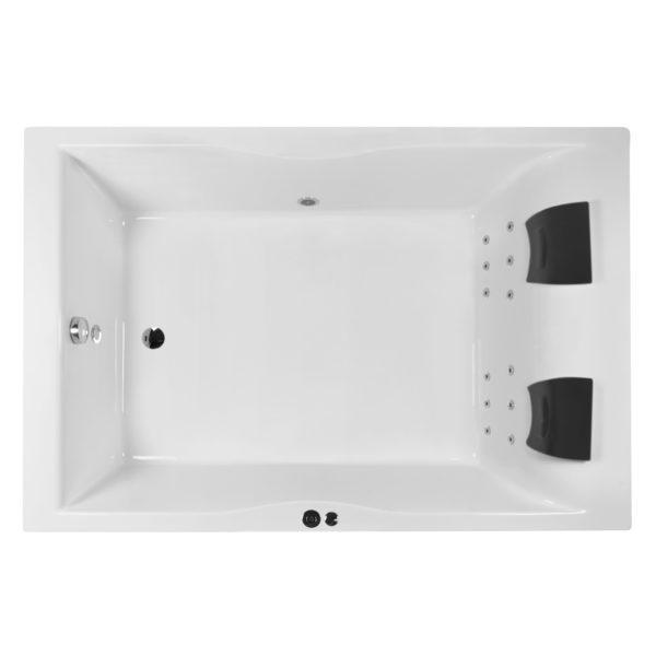 Whirlpool Badewanne extra breit 180x120 mit 12 Rückendüsen