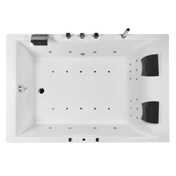 Whirlwanne 180 x 120 Komplett Set mit Nackenkissen, LED Licht und Armatur