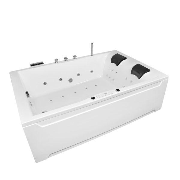 Whirlwanne 180x120 Set mit 30 Düsen, LED Beleuchtung und integrierter Armatur