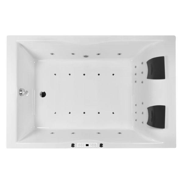 Whirlwanne 180x120 cm mit 30 Düsen, LED Beleuchtung und Nackenkissen