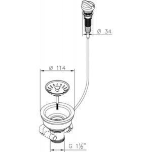 Siebkorbventil Ø 114 mm Bowdenzug Drehbetätigung