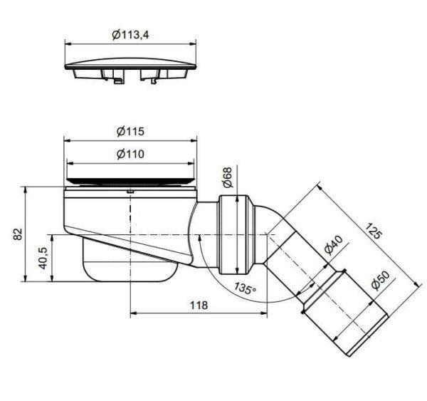 Ablaufgarnitur 114 mm / 90 mm flache Pop Up für Dusche Duschwanne