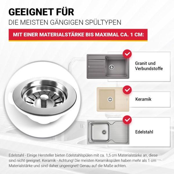 "Siebkorbventil Ø114 mm (3 1/2"") für Spüle"