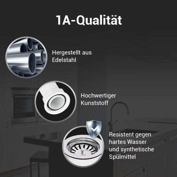 """Siebkorbventil Ø 114 mm (3 1/2"""") mit Überlauf-Anschluss für Spüle"""