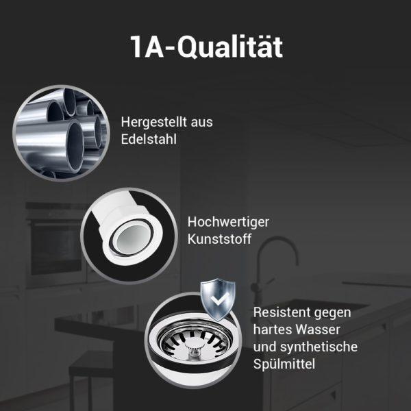 Siebkorbventil Ø 70 mm mit Raumschaffer und Überlauf-Anschluss für Spüle