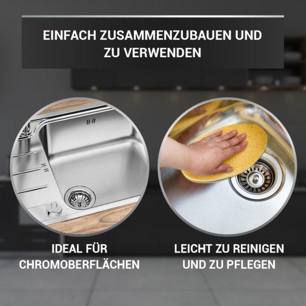 Ablaufgarnitur mit Siebkorb Ø 70 mm mit Excenterventil für Spüle