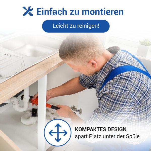 """Raumsparsiphon 1 1/2"""" mit waagerechtem Abgang 40 mm 1 Geräteanschluss für Spüle"""