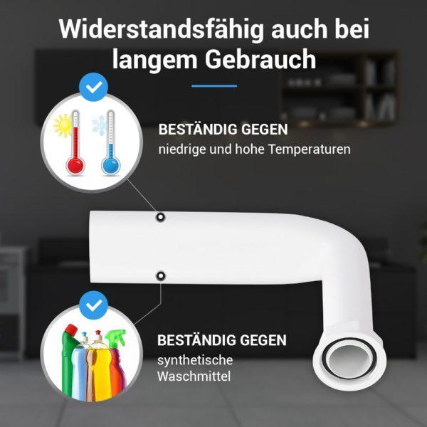 Winkelrohr starr Überlaufrohr Ø 25mm für Ablaufgarnitur Küchenspülen