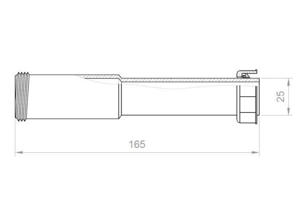 Siphon Verlängerung Rohr 25mm x 165mm für Spüle