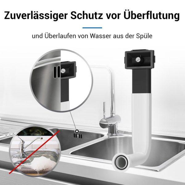 Überlauf-Set seitlich mit Winkelrohr für Siebkorbventil Spüle Spülbecken