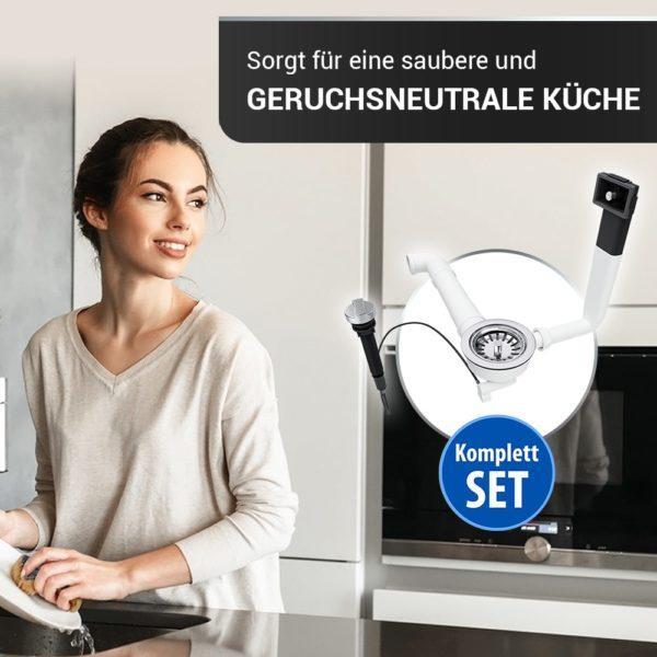 Ablaufgarnitur Ø114 mm mit Raumschaffer Überlauf und Drehbetätigung für Küchenspüle