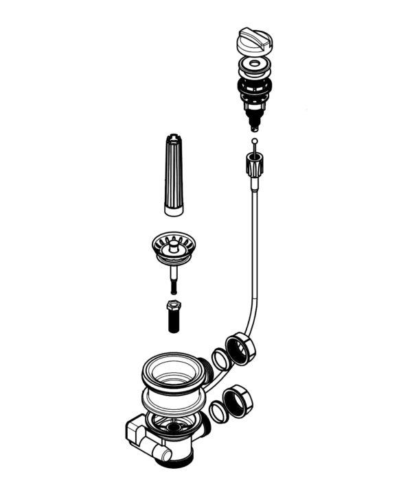 Spülenablaufgarnitur 70 mm 1 1/2 Zoll mit Raumschaffer Überlauf