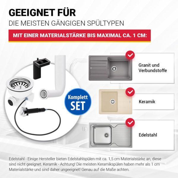 Ablaufgarnitur mit Siebkorbventil 114 mm Excenter und Abtropf-Überlauf für Spüle