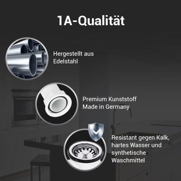 Ablaufgarnitur 70mm mit Excenterventil und Überlauf für Spüle