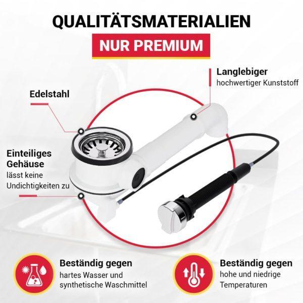 Ablaufgarnitur für Spüle 70 mm mit Excenterventil Raumschaffer und Abtropf-Überlauf