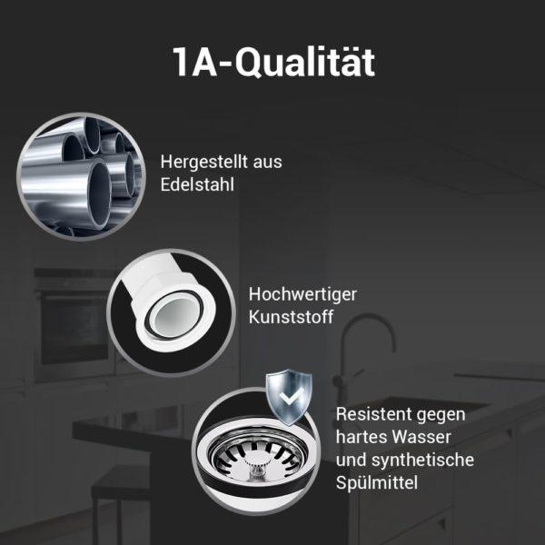 Ablaufgarnitur für Spüle 70mm mit Raumschaffer und Abtropfüberlauf