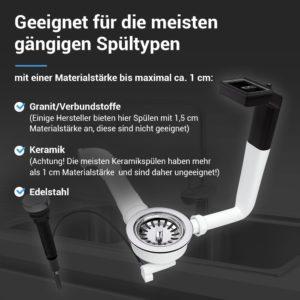 Ablaufgarnitur Siebkorbventil 114 mm mit Excenterventil, Abtropf-Überlauf für Spüle