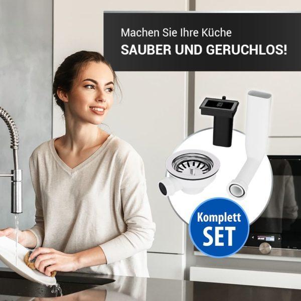 Siebkorbventil 114mm mit Abtropf-Überlauf für Küchenspüle