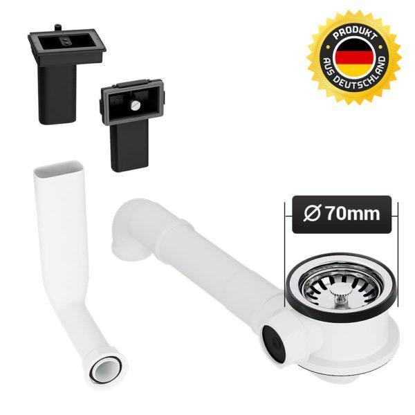 Siebkorbventil 70 mm mit Raumschaffer und Überlauf-Set für Spüle