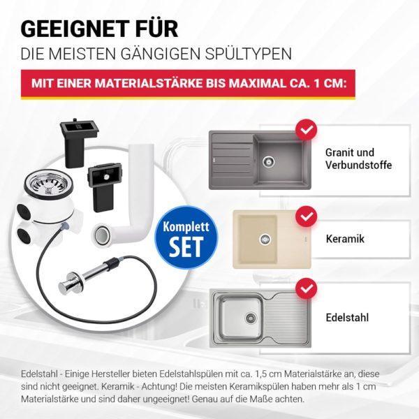 Siebkorbventil 70mm mit Excenterventil und Überlauf-Set
