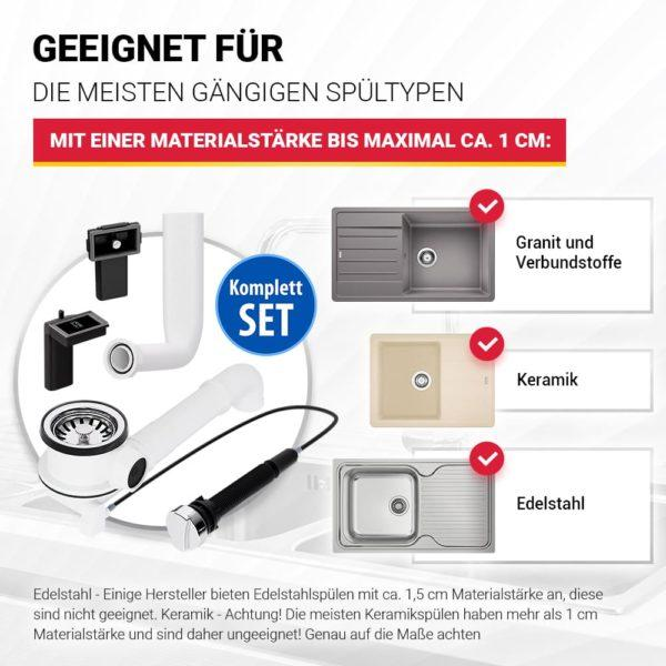 Siebkorbventill 70mm mit Excenterventil Raumschaffer und Überlauf-Set für Spüle