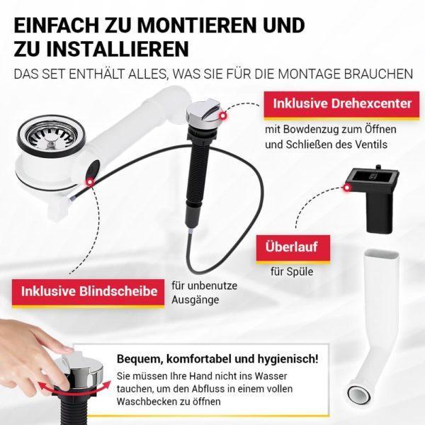Spüle Ablaufgarnitur 70 mm mit Excenterventil Raumschaffer und Abtropf-Überlauf