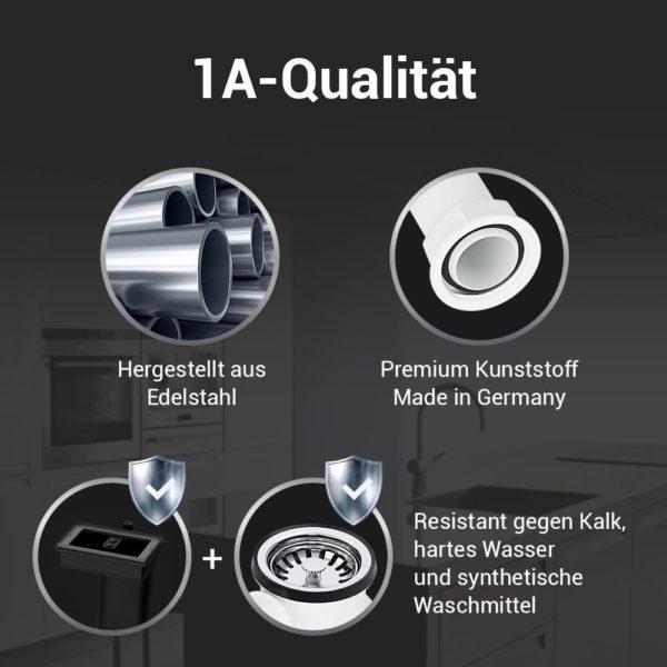 Spüle Ablaufgarnitur 70mm mit 2 Abgängen, Excenterventil und Abtropfüberlauf