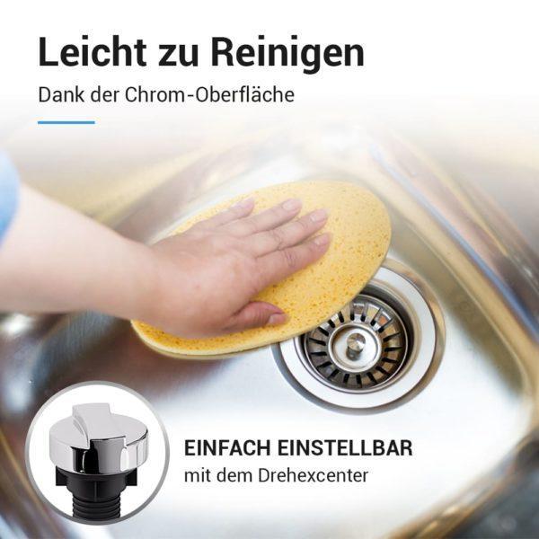 Spülenablauf 70mm Excenterventil und Überlauf-Set für Küchenspüle