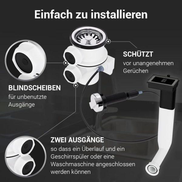 Spülenablaufgarnitur 70mm mit Excenterventil und Abtropfüberlauf
