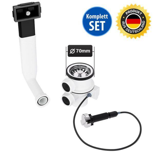 Spülenablaufgarnitur 70mm mit Excenterventil und Überlauf