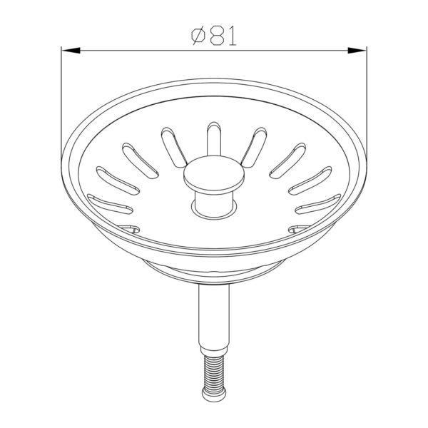 Siebkörbchen Ø 81 mm mit Hubstange Ø 8 x 45 mm für Spüle